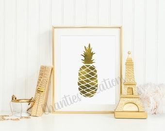 gold foil pineapple printable wall art 8x10