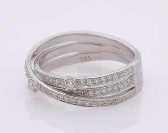 Diamond  band, 14K White Gold, Eternity Band, Crossover Ring, Multi Row Ring, Anniversary Ring, Pave Ring, Wedding Ring, Cross Over