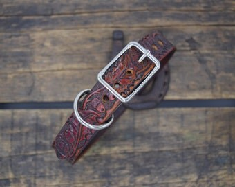 Western Dog Collar ( leather dog collar ~ 1 inch collar ~ vintage dog collar ~ small breed ~ tooled dog collar ) The Diamond Dogs