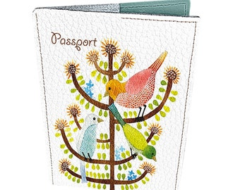 Leather passport covers/ Birds on tree - #268