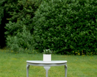 Grey Half Moon Console Side Table Demi Lune Hand Painted Shabby Chic Chalk Paint Hallway Reception Flower Lamp Stand