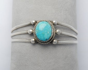 Cuff turquoise and sterling silver bracelet
