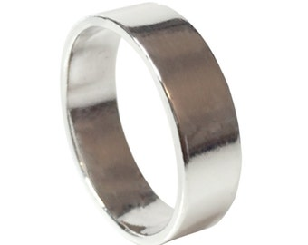 Sterling silver Band, wedding band ring, 6mm wide, Sterling silver ring
