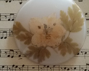 Round pin dried flowers / Vintage 70's.