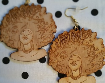 "Light-weight Birchwood  ""Fro-Real Earrings"