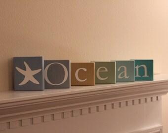 Ocean Blocks Wooden Letter - Nautical Themed Distressed Ocean or Beach Blocks - Room Decor