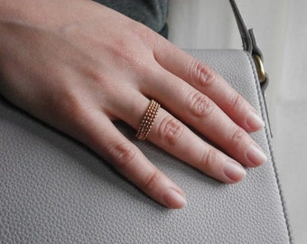 Beaded Stackable Gold Ring