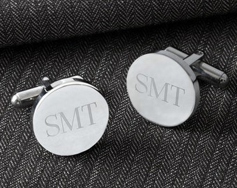 Engraved Mens Cufflinks - Personalized Classic Round Cuff Links