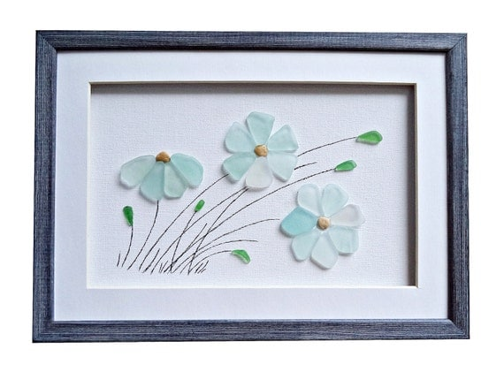 Wall Art Glass Framed : Genuine sea glass flowers art pebble by