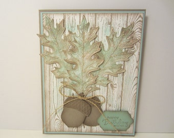 Vintage Leaves and Acorn Birthday