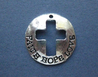 4 Faith Hope Love Charms - Faith Hope Love Pendant - Word Charm - Message Charm - Carved Charm - Antique Silver - 23mm -(No.122-12074)