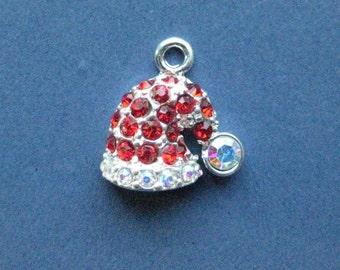 4 Santa Hat Charms - Santa Hat Pendants - Santa Hat - Christmas Charms -  19mm x 18mm  --(No.145-10964)