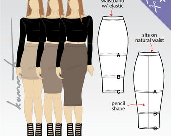 Bodycon skirts mini, knee and midi length / Sewing pattern PDF for stretch knits Easy!