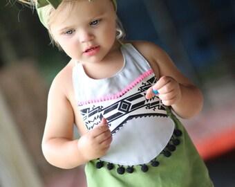 Aztec Light Gray on Green Pom Pom Romper Baby Toddler