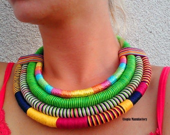 Raven Statement Necklace Ethnic Necklace Rope Necklace African Necklace Massai Necklacee African Jewelry African Fashion Tribal Necklace