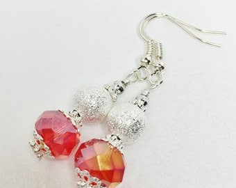 Red Crystal Drop Earrings Red Bridesmaid Gift Red and Silver Wedding Party Gift Mother of the Bride Red Dangle Earrings Red Bridal Gift