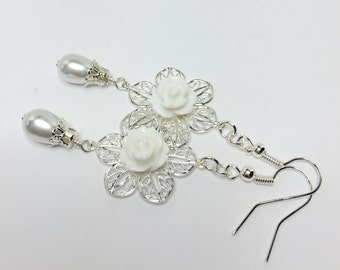 White Flower Earrings Pretty Wedding Jewelry White Rose Drop Earrings White Pearl Dangle Earrings Bridesmaid Gift Mother of The Bride Gift