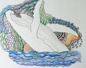 Zentangle whale,whale art,colored zentangle,whale wall art,zentagle art,wall decor,breaching whale,humpback whale