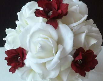 Red and White Bridal Toss Bouquet-Toss Away Bouquet-Real Touch Bouquet-Red and White Bridal Bouquet