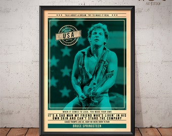Bruce Springsteen Poster - Quote Retro Music Poster - Music Print, Wall Art
