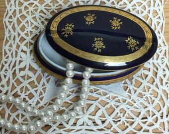 Porcelain Artistique Limoges Fontanille & Maraud Oval Trinket Box - Cobalt Blue 22K Gold