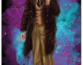 Eighth Doctor Paul McGann 8th Dr Who Inspired Splash Style A4 Original Art Print
