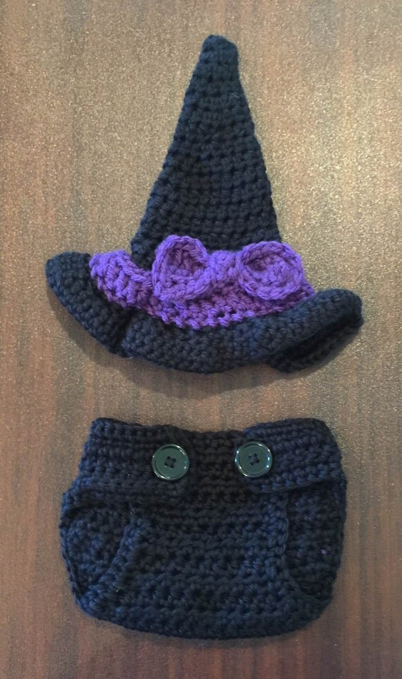 Newborn Crochet Witch Hat Pattern : Crochet Baby Witch Hat and Diaper Cover Witch Broom
