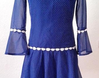 Vintage 60s Dress | Vintage Polka dots Dress | Navy dress M Medium