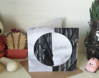 Flip Black and White Architecture Art Card