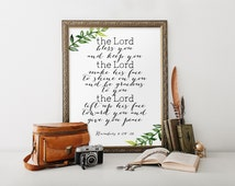 Scripture art print, Bible verse, The Lord Bless You and Keep You, Numbers 6:24-26, Bible verse art, Wall decor, Christian art print BD-520