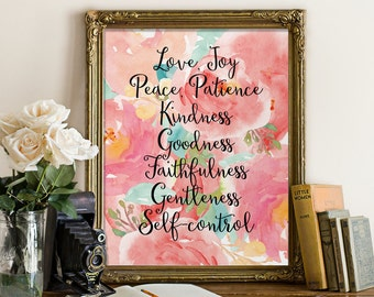 Fruit of the spirit wall art, Fruit of the Spirit, Bible verse print, Love joy peace, Galatians 5:22, Fruits of the Spirit, BD-547