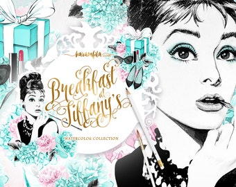 Breakfast At Tiffanys Clipart Fashion Audrey Hepburn Illustration Portrait Girls Blog Planner Supplies Peonies