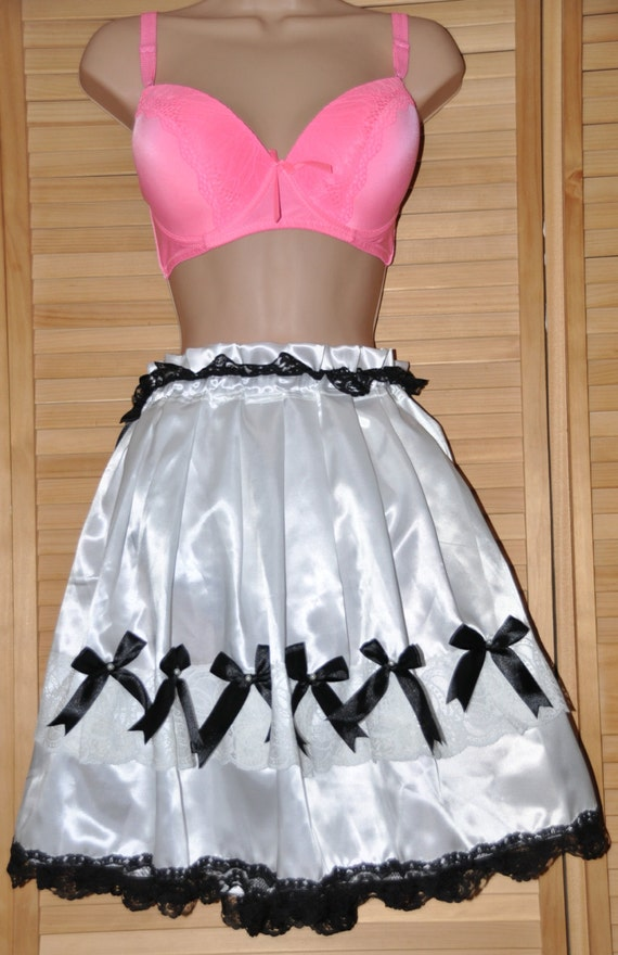 """Tinkling petticoated posing panties in soft silky sexy satin, waist to 42"""", lovely flouncy sissy wear, Sissy Lingerie"""