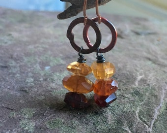 Hessonite garnet and copper earrings