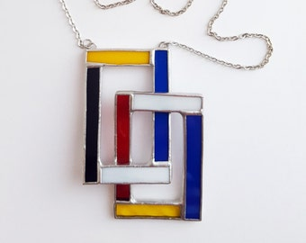 Stained glass pendant-Mondrian-rectangles 3-geometric-blue-red-yellow-white-black-modern-hipster