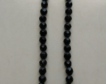 Black glass, beaded necklace