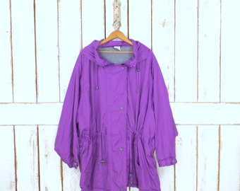 90s vintage purple sporty drawstring hoodie jacket/utility jacket/Adirondack/fisherman jacket