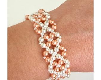 Pearl Bracelet, Swarovski Pearl Bracelet, Braided Pearl Bracelet, Woven Pearl Bracelet, Bridal Bracelet, Wedding Bracelet, Silver Bracelet