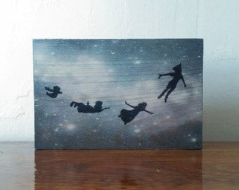 Peter Pan and Friends Flying to Neverland - Handmade Wooden Sign