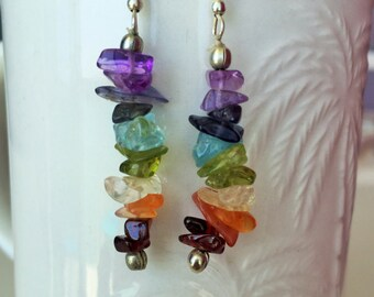 Chakra Healing Earrings- Crystal Dangling Earring infused w/ Reiki