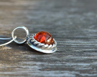 Baltic Amber Necklace, Amber Pendant, Amber Silver Pendant, Silver Amber Necklace
