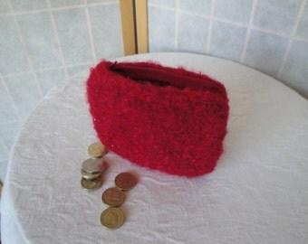 red felt coin purse, knitted felt purse, coin/jewel pouch, boucle felt purse, zipped money purse, money pouch, large red purse, felt purse