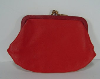 REDUCED - Red Vinyl Change/Coin Purse - 1960's