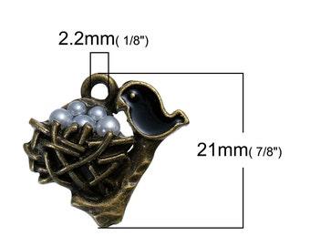 5 Bird's Nest Charm,  Mother Bird Nest Pendant, Birds Nest Jewelry, Antique Bronze Charm, Bird Charm, 1023, 734