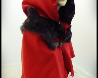 Hooded Cape - lambskin leather and rabbit fur