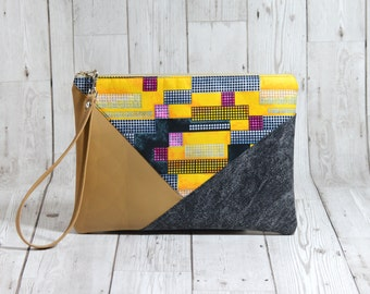 Geometric clutch leather wristlet clutch, Evening clutch envelope purse, Black clutch, vegan clutch, modern clutch