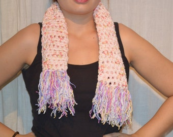 Scarf with fringes - pink - white - purple