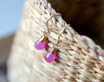 Pink Sapphire Earrings, September Birthstone, Natural Gemstone Genuine Sapphire Drop Earrings in 14K Rose Gold, Gold Filled, Sterling Silver
