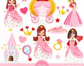 Valentines princess clipart, Valentine clipart, Princess clipart, Heart clipart, Valentines day, Love clipart - CA308