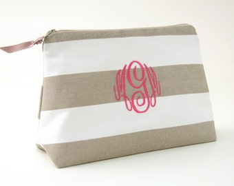 FREE SHIPPING - Monogram Stripe Cosmetic Bag // Monogram Clutch // Monogrammed Makeup Bag